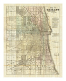 Map of Chicago, c.1857 Print by Rufus Blanchard