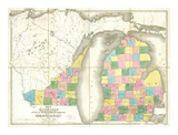 Map of Michigan and Part of Wisconsin Territory, c.1839 Posters by David H. Burr
