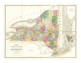 Map of New York, c.1839 Poster by David H. Burr