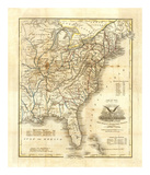 Map of The United States, c.1845 Art by John Warner Barber