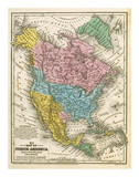 Map of North America, c.1839 Prints by Samuel Augustus Mitchell