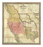 New Map of Texas, Oregon and California, c.1846 Prints by Samuel Augustus Mitchell