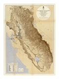 Map of The San Joaquin, Sacramento and Tulare Valleys, c.1873 Posters