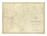 Map of New Orleans and Adjacent Country, c.1824 Prints by John Melish
