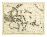 Map of Oceanica, c.1839 Prints by Samuel Augustus Mitchell