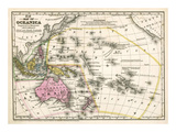 Map of Oceanica, c.1839 Art by Samuel Augustus Mitchell