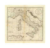 Italy and Sardinia, c.1796 Kunstdrucke von Mathew Carey