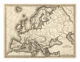 Map of Europe, c.1839 Prints by Samuel Augustus Mitchell