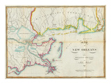Map of New Orleans and Adjacent Country, c.1815 Art by John Melish