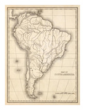 Map of South America, c.1839 Prints by Samuel Augustus Mitchell