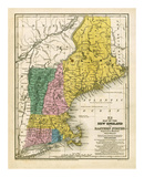 Map of the New England or Eastern States, c.1839 Poster by Samuel Augustus Mitchell