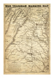 War Telegram Marking Map, c.1862 Posters by L. Prang