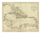 Map of the West Indies, c.1796 Prints by John Reid