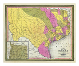 Map of Texas, c.1846 Prints by Samuel Augustus Mitchell