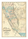 Map of the State of California, c.1853 Poster by John B. Trask