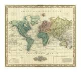 World on Mercators Projection, c.1823 Kunst av Henry S. Tanner