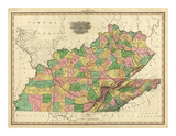 Kentucky, Tennessee and Part of Illinois, c.1823 Print by Henry S. Tanner