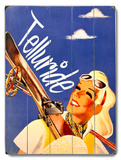 Girl with Ski Wood Sign