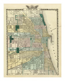 Map of Chicago City, c.1876 Posters by Warner &amp; Beers 