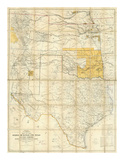 Map of The States of Kansas and Texas and Indian Territory, c.1867 Prints