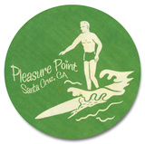Pleasure Point Surfer Wood Sign