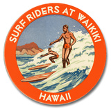 Surf Riders at Waikiki Wood Sign