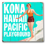 Kona Hawaii Pacific Playground Wood Sign