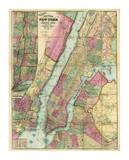 Map of New York and Adjacent Cities, c.1874 Art by Gaylord Watson