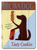 Brown Dog Tasty Cookies Placa de madeira