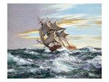 Dès l'aube contre vents et marée Reproduction procédé giclée par Montague Dawson