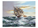 Dawn Chase Lmina gicle por Montague Dawson