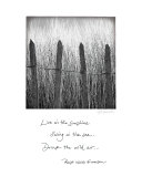 Beach Fence Art Print with Emerson Quote