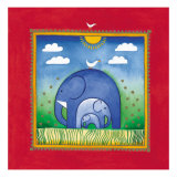 Elephants Premium Giclee Print by Linda Edwards