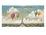 Luftballoner over Paris, på engelsk Premium Giclée-tryk af Isiah and Benjamin Lane