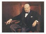 Sir Winston Churchill Giclee-tryk i høj kvalitet af Arthur Pan