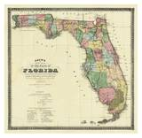 Mapa nueva de Estado de Florida, c.1870 Obra de arte por Columbus Drew