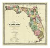 New Map of the State of Florida, c.1870 Posters by Columbus Drew