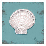 Distressed Seashells: Scallop shell Posters by Melody Hogan
