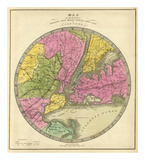 Map of the Country Twenty Five Miles Round the City of New York, c.1840 Prints by Jeremiah Greenleaf