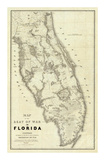Map of the Seat of War in Florida, c.1838 Print by Washington Hood