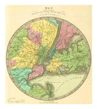 Map of the Country Twenty Five Miles Round the City of New York, c.1848 Prints by Jeremiah Greenleaf