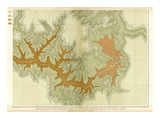 Grand Canyon: Geologic Map of the Southern Kaibab Plateau (Part IV, South-East), c.1882 Posters by Clarence E. Dutton