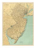 New Jersey State Map, c.1888 Prints