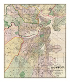 Map of the City of Boston and its Environs, c.1874 Plakater af G. M. Hopkins