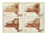 New York: Rainfall, Population, Elevation, Temperature, c.1895 Posters by Henry Gannett