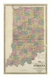 New Sectional and Township Map of Indiana, c.1876 Poster by A. T. Andreas