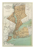 New York: Kings, Queens, Richmond, Rockland, Westchester, Putnam Counties, c.1895 Poster by Joseph Rudolf Bien