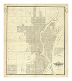 Map of Milwaukee, c.1856 Prints by I. A. Lapham