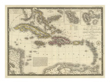 Iles Antilles ou des Indes Occidentales, c.1828 Prints by Adrien Hubert Brue
