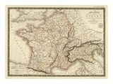 Carte Generale des Gaules, c.1821 Art by Adrien Hubert Brue